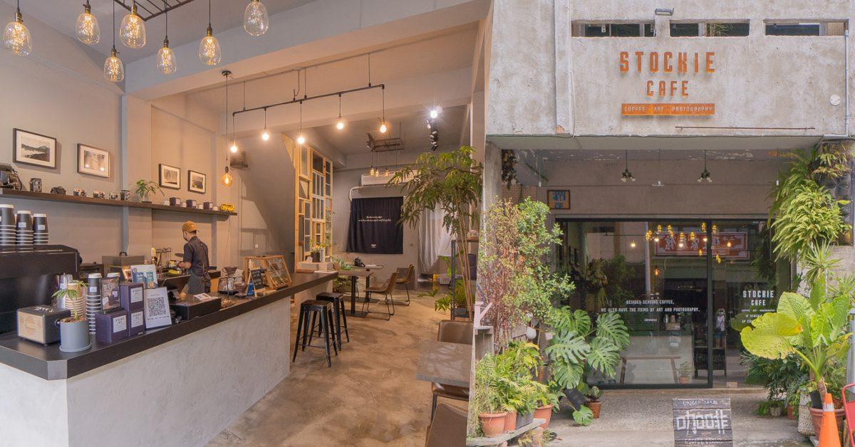 台中西屯區Stockie Cafe咖啡,精明路植栽系咖啡廳,內部清水模與舊窗框交織,很美很好拍照。